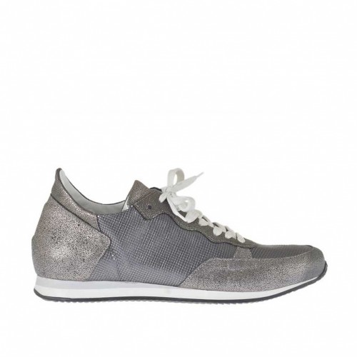 Woman's laced sports shoe in printed silver and steel grey leather wedge heel 2 - Available sizes:  42