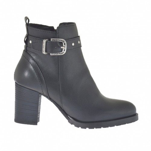 Woman's ankle boot with zipper, buckles and studs in black leather heel 6 - Available sizes: