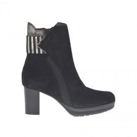 Woman's ankle boot with platform, elastic bands with accessory and zipper in black suede and glittered gunmetal leather heel 6 - Available sizes:  43, 46