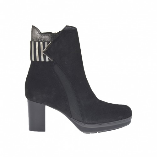 Woman's ankle boot with platform, elastic bands with accessory and zipper in black suede and glittered gunmetal leather heel 6 - Available sizes:  43
