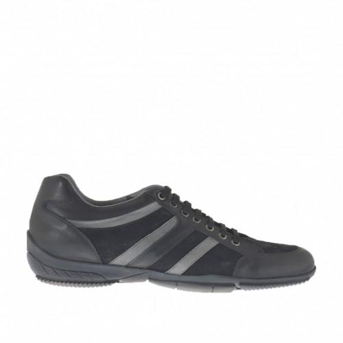 Chaussure sportif à lacets en daim et cuir noir et cuir couleur fumée - Pointures disponibles:  47, 48, 49