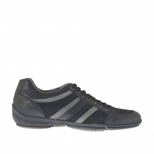 Men's casual laced shoe in black suede and leather and smoke-colored leather - Available sizes:  47, 48, 49
