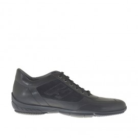 Men's laced sports shoe in black suede and leather - Available sizes:  47