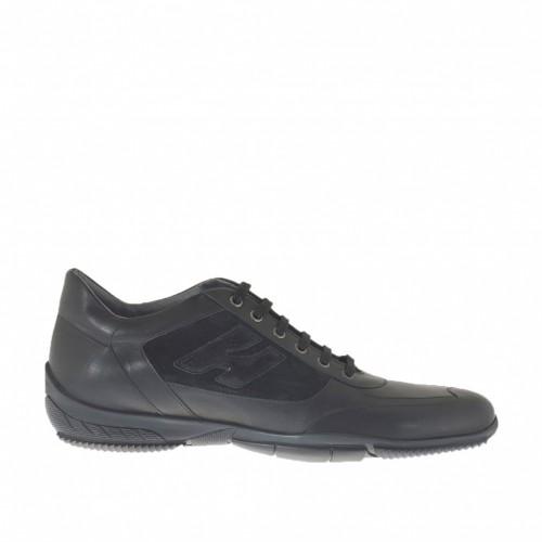 Sportlicher Herrenschuh mit Schnürsenkeln aus schwarzem Leder und Wildleder - Verfügbare Größen:  47