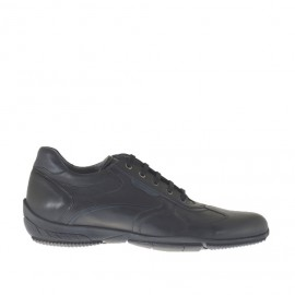 Men's laced sports shoe in black and blue leather - Available sizes:  47