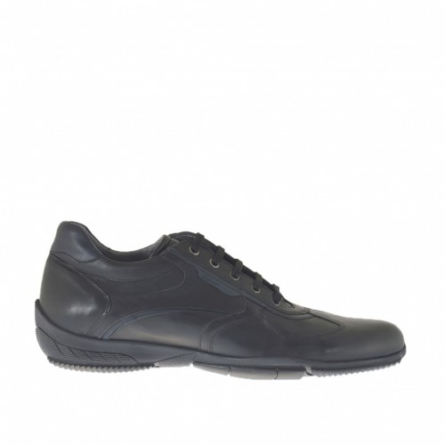 Men's laced sports shoe in black and blue leather - Available sizes:  47, 48