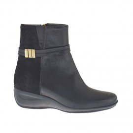 Woman's ankle boot with zipper and strap with accessory in black leather and suede wedge heel 4 - Available sizes:  34, 42