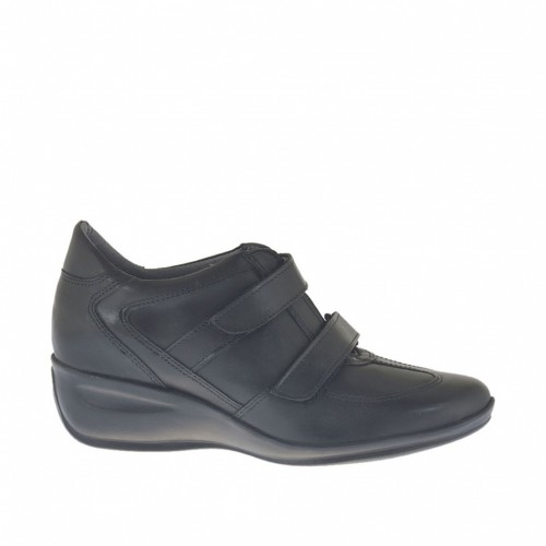Woman's shoe with velcro straps in black leather wedge heel 4 - Available sizes:  42, 43, 44