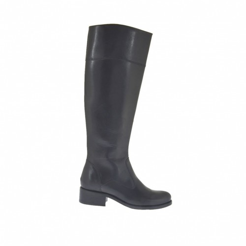 Woman's boot with zipper in black-colored leather heel 3 - Available sizes:  32, 33
