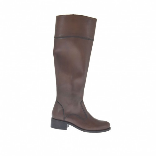 Woman's boot with zipper in dark brown leather heel 3 - Available sizes:  42