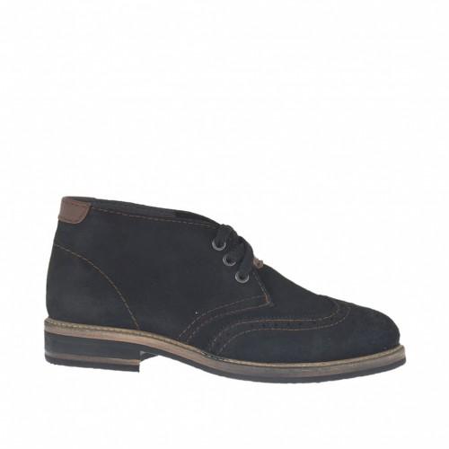 Chaussure à lacets pour hommes en daim noir avec pièces et coutures en cuir marron - Pointures disponibles:  47