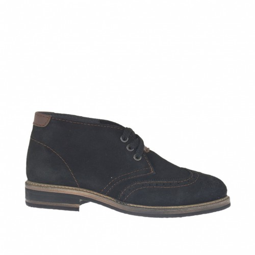 Men's laced shoe in black suede and brown leather inlays and seams - Available sizes:  47