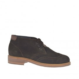 Men's laced shoe in dark brown suede and brown leather inlays and Brogue decorations - Available sizes:  47