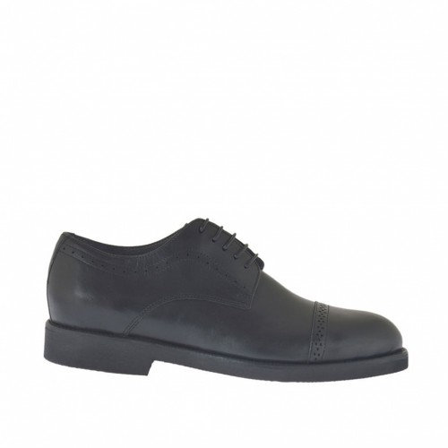 Men's classic laced derby shoe in black leather - Available sizes:  48