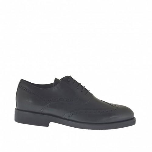 Chaussure richelieu classique à lacets pour hommes en cuir noir - Pointures disponibles:  48, 49