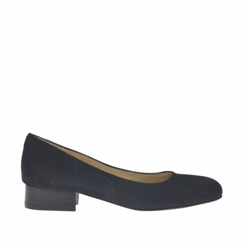 Woman's pump in black suede heel 3 - Available sizes:  32, 33, 34, 45