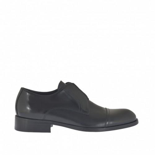 Chaussure fermée pour hommes avec elastique en cuir et cuir brossé noir - Pointures disponibles:  37, 38, 47, 48, 49