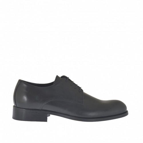 Men's laced Derby shoe with smooth tip in black leather - Available sizes:  38, 49