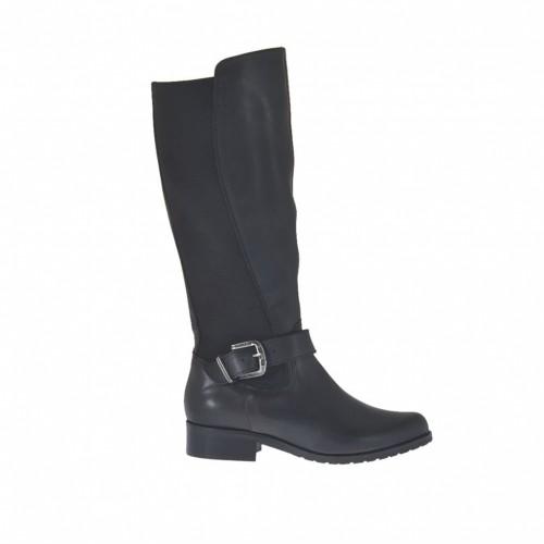Botas para mujer con cremallera, elastico y hebilla en piel negra tacon 3 - Tallas disponibles:  33