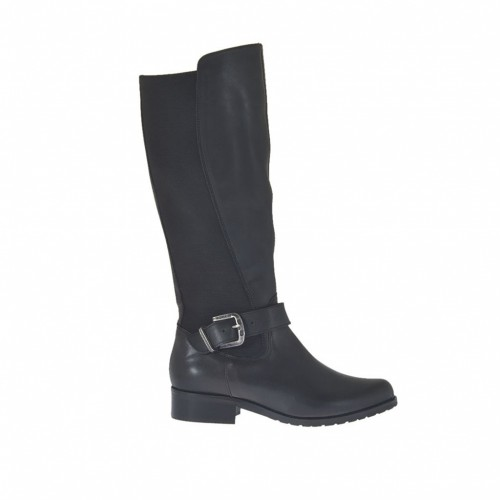Woman's boot with zipper, elastic band and buckle in black leather heel 3 - Available sizes: 32, 33, 34