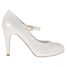 Zapato de salon para mujer con cinturon y plataforma en piel de color marfil perlado tacon 10 - Tallas disponibles:  33, 43, 44, 46