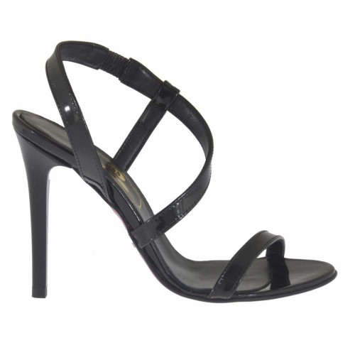 Sandale pour femmes en cuir verni noir avec elastique talon 10 - Pointures disponibles:  31, 47
