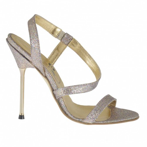Woman's sandal in glittered platinum leather with elastic heel 10 - Available sizes:  31, 32, 34, 42, 46, 47