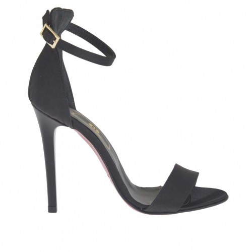 Woman's open shoe with anklestrap in black satin heel 10 - Available sizes:  31, 34, 42, 43, 46, 47