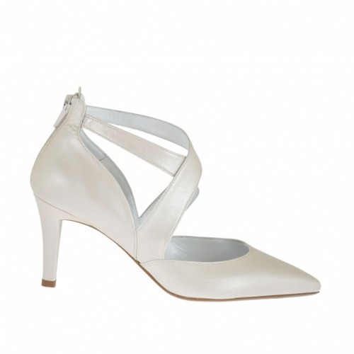 Woman's pump with crossed straps and backside zipper in pearled ivory leather heel 7 - Available sizes:  32, 33, 34, 42, 44, 45