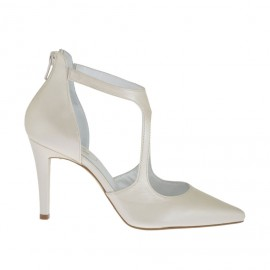 Zapato abierto para mujer en piel perlada de color marfil con cremallera posterior tacon 8 - Tallas disponibles:  32, 34, 43, 45, 46