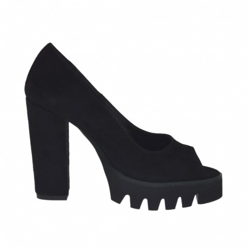 Woman's open toe pump in black suede heel 10 - Available sizes:  31, 32, 34, 42, 44, 45, 46