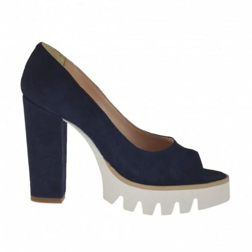 Zapato de salon abierto en punta para mujer en gamuza azul tacon 10 - Tallas disponibles:  31, 34, 42