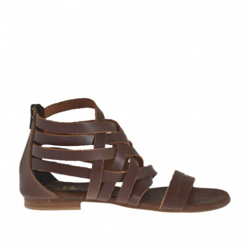Woman's open shoe with intertwined straps and zipper in brown leather heel 1 - Available sizes:  32, 33, 42, 43, 44, 45, 46, 47