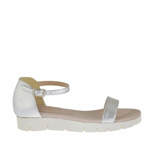 Chaussure ouvert pour femmes avec courroie en cuir lamé argent talon compensé 2 - Pointures disponibles:  42, 44, 45
