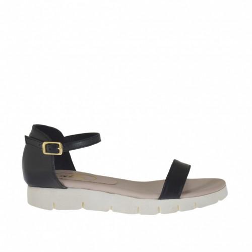 Chaussure ouvert pour femmes avec courroie en cuir noir talon compensé 2 - Pointures disponibles:  42, 43, 44