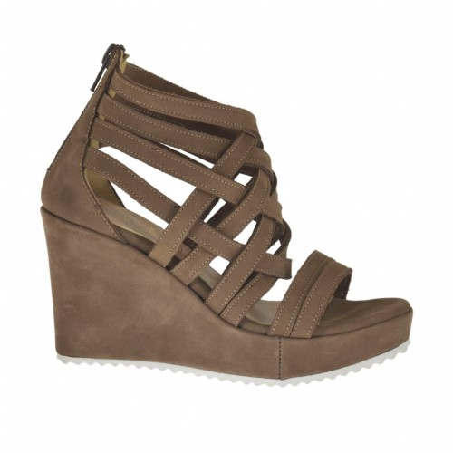 Woman's open shoe with zipper and platform in taupe nubuck leather wedge heel 8 - Available sizes:  31, 34