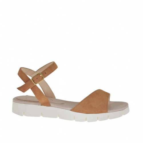 Woman's strap sandal in camel suede wedge heel 2 - Available sizes:  33, 42, 43, 44, 46