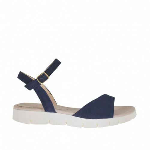 Sandale pour femmes avec courroie en daim bleu talon compensé 2 - Pointures disponibles:  42