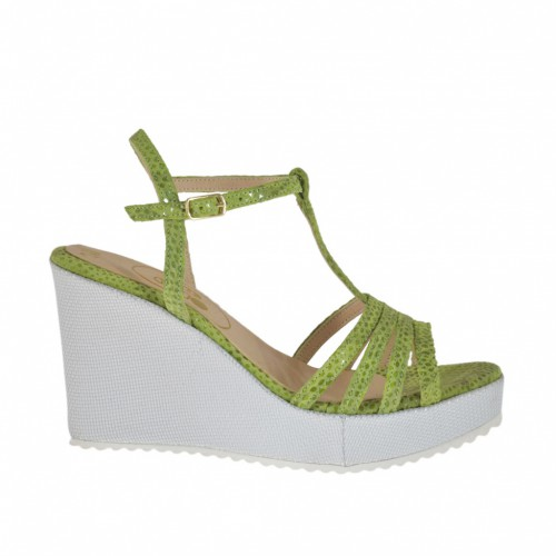 Woman's T-strap sandal in varnish printed green suede and silver laminated fabric with platform and wedge heel 8 - Available sizes:  31