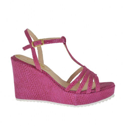 Woman's T-strap sandal in varnish printed fuchsia suede with platform and wedge heel 8 - Available sizes:  32