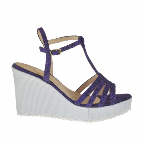 Woman's T-strap sandal in varnish printed purple suede and silver laminated fabric with platform and wedge heel 8 - Available sizes:  31