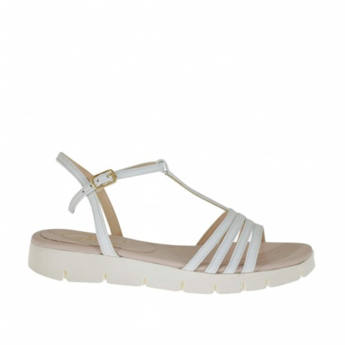 Woman's T-strap sandal in white leather wedge heel 2 - Available sizes:  43