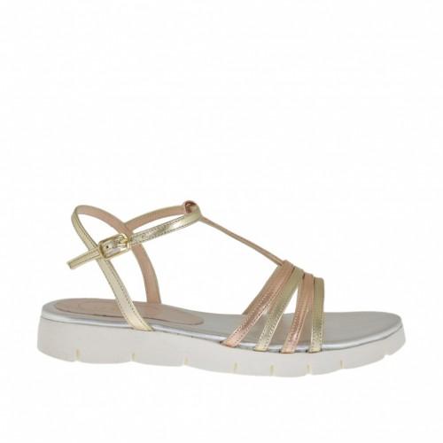 Sandale pour femmes avec courroie salomé en cuir platine et cuivre talon compensé 2 - Pointures disponibles:  42