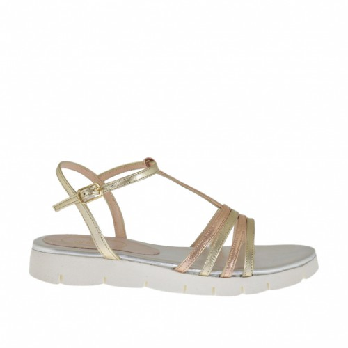Woman's T-strap sandal in platinum and copper leather wedge heel 2 - Available sizes:  32, 42