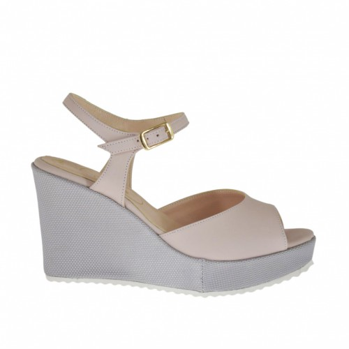 Woman's strap sandal in light pink leather and silver laminated fabric with platform and wedge heel 8 - Available sizes:  32, 34