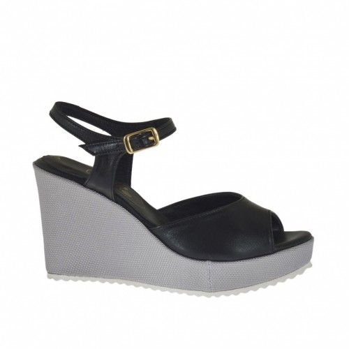 Woman's strap sandal in black leather and silver laminated fabric with platform and wedge heel 8 - Available sizes:  31