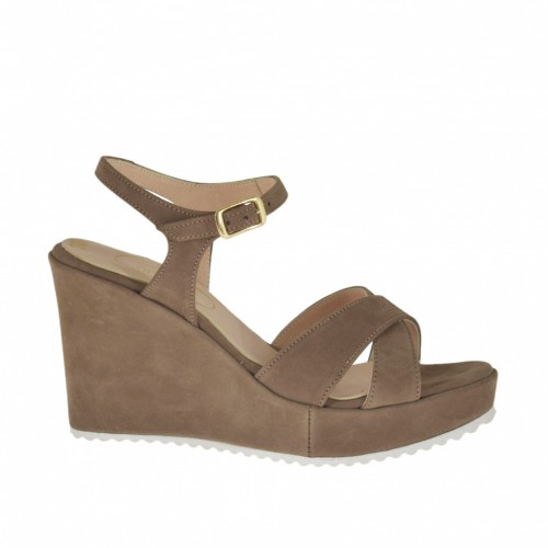 Woman's sandal in taupe nubuck leather with strap, platform and wedge heel 8 - Available sizes:  32