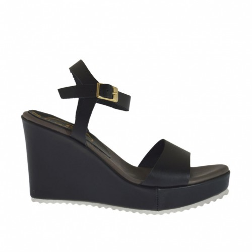 Woman's strap sandal in black leather with platform and wedge 8 - Available sizes:  33, 34