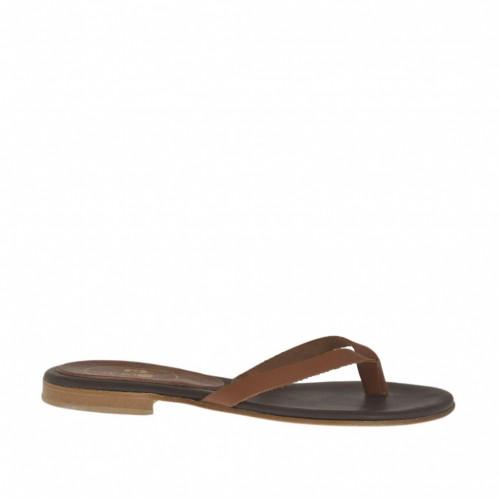 Mule entredoigt pour femmes en cuir brun talon 1 - Pointures disponibles:  33, 42, 43