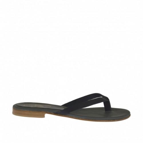 Mule entredoigt pour femmes en cuir noir talon 1 - Pointures disponibles:  33, 42